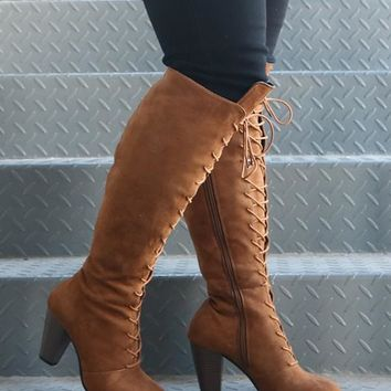 New Brown Round Toe Chunky Fashion Knee-High Boots