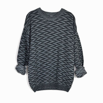 Vintage Basketweave Boyfriend Sweater in Slate Gray