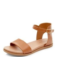 Wide Fit Tan Ankle Strap Sandals