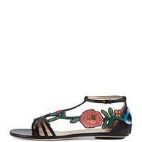 Gucci Ophelia Flat Embroidered Sandal