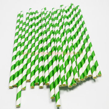 50 Kelly Green Striped Paper Straws Biodegradable Decorative Party Drinking Straws-Wedding Birthday Bridal Baby Shower Bulk Sale Free Flags