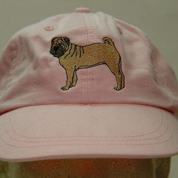 CHINESE SHAR PEI Dog Hat - One Embroidered Men Women Cap - Price Embroidery Apparel - 24 Color Caps Available