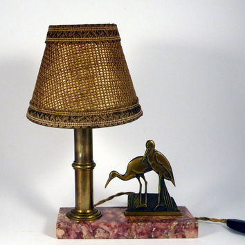 Vintage desk lamp. French desk lamp. Art deco desk lamp. Table lamp. Animal lamp. Vintage lamp. Mood lamp. French vintage lamp. Stork lamp