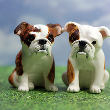 Custom Bulldog Wedding Cake Toppers - Custom Pet Wedding Cake Toppers -Handmade to Order Polymer Clay Sculptures