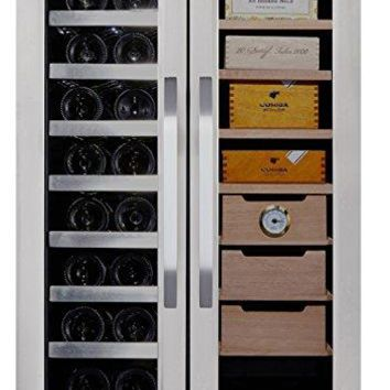 Whynter CWC-351DD Freestanding Wine Cooler and Cigar Humidor Center, 3.6 cu. ft., Stainless Steel/Black