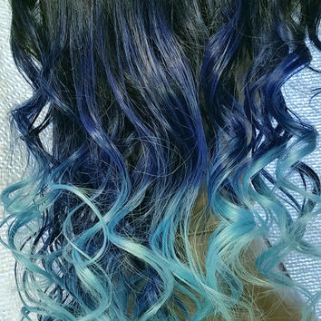 Mermaid Passion Human Hair Alternative Full Wig Cap with Wig Combs and Adjustable Straps #1B Black Root Blue Cyan Aqua Blue