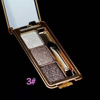 New Brand Professional Eye Makeup 3 Colors Diamond Smoky Eyeshadow Palette Naked Glitter Nude Eye Shadow Cosmetic With Brush