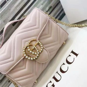 Gucci pearl   Women Shopping Leather Metal Chain Crossbody Shoulder Bag