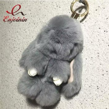 2016 Fur Grey Rabbit women's handbag doll pendant fur and leather bag parts accessary candy color trendy bag charm chic