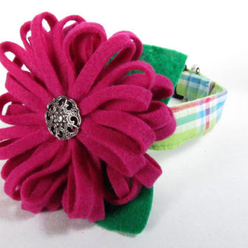 Designer Dog Collar and Flower  - Lime Green Plaid and blue felt flower - Spring dog collar, green dog collar, cute dog collar