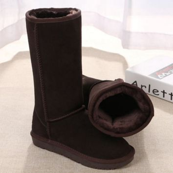 """UGG"" Women Fashion Wool Snow Boots Calfskin Shoes simple Chestnut G"