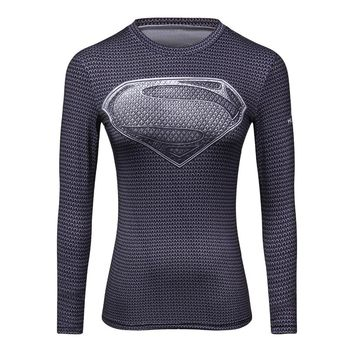 Female Marvel Superman/Batman/ Wonder Compression Funny T Shirt 3D Punk Rock Long Sleeve T-Shirt Women Fitness Clothing Tops