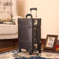 2018 suitcase for makeup designer luggage wheel spinner handmade pu leather geniune leather pu large size high quality rolling