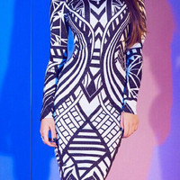 Printed Long Sleeve Bodycon Dress
