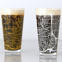 Atlanta, GA - Georgia Tech - College Town Map Pint Glass Set