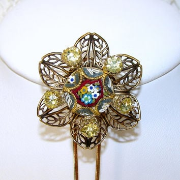 Italian Micro Mosaic Hair Pin Citrine Yellow Rhinestone Hairpin Millefiori Flower Hair Comb Vintage Jewelry Accessory