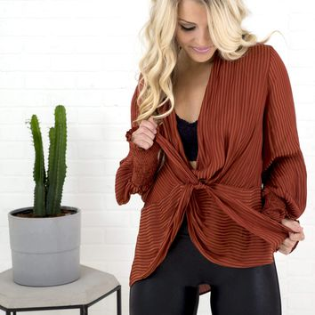 Women's Striped Blouse with Shawl Collar Open Neckline and Smocked Wrists