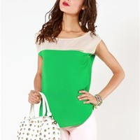 A'GACI Zipper Trim Pocket Colorblock Crepe Tee - Tops