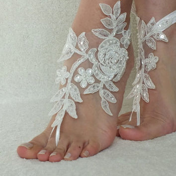 Ivory beach wedding barefoot sandals ivory  lace sandals, , bridal barefoot, lariat  lace sandals
