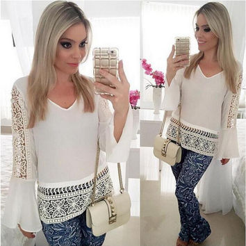 White Crochet Designed Long Sleeve T-Shirt