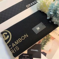 """Chanel"" Women All-match Fashion Temperament Simple Embroidery Logo Letter Tassel Scarf Shawl"