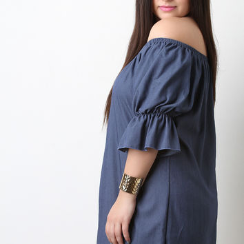 Off The Shoulder Elasticized Sleeve Denim Shift Dress