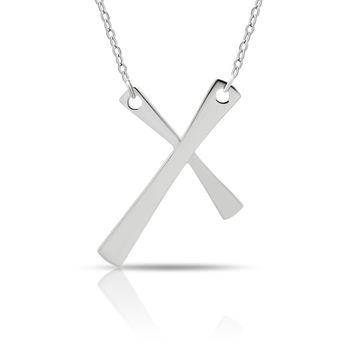 925 Sterling Silver Tiny Cross Charm Necklace, Silver Small Christian Pendant Necklace on Silver Rollo Chain