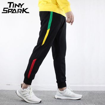 Hip Hop Street wear Joggers Pant New Sweat pant Men Cotton Sweat Pants Side Striped Rainbow Trousers Black Bottoms