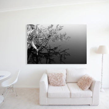 MONOCHROME QUARTZ - Stencil Black and White Fine Art Photography -  B&W - Trees - Winter - Over Lake - Wall Art - Framed Canvas Art - Home