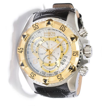 Invicta 11015 Men's Reserve Excursion Gold Tone Bezel Textured Gold Accents Silver Dial Chronograph Leather Strap Dive Watch