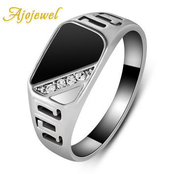Ajojewel #7-12 Good Quality Man Jewelry Fashion 18K White Gold Plated Black Enamel Men Finger Ring With CZ Diamond