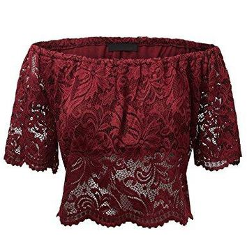 Made By Johnny WT1771 Womens Strapless Floral Crochet Lace Off Shoulder Crop Top