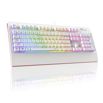 RK PRO104 Macro Setting RGB Backlit Wired Mechanical Gaming Keyboard with Brown Switches (White)