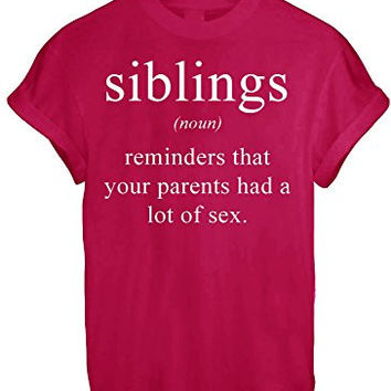 SIBLINGS DICTIONARY NOUN MEANING FUNNY WOMEN UNISEX T SHIRT TOP TEE NEW - Red