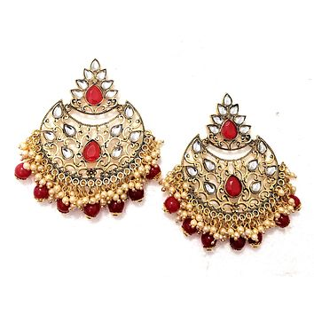 Colorful bead and pearl hanging Kundan like stone Earring