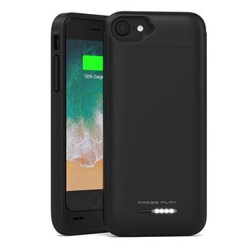 DCK4S2 iPhone 8 Battery Case with Qi Wireless Charging, (APPLE CERTIFIED) PRESS PLAY NERO 3100mAh Slim Rechargeable Extended Protective Portable Backup Charger Case for iPhone - Black