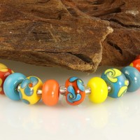 Southwest Floral Lampwork Glass Beads SRA
