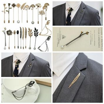 i-Remiel Tree Leaves Animal Pearl Rose Long Needle Brooch for Men Women Shawl Cardigan Pins & Brooches Shirt Collar Accessories