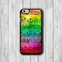 Song Sheet Colorful Rainbow iPhone 6 Cases, Music and Note iPhone 5S, iPhone 4, iPhone 4S Hard Case, Rubber Deco Hipster Accessorie Cover