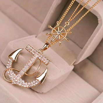 2 Colors White Navy Crystal Rhinestone Anchor Rudder Pendant Long Chain Sweater Necklace Personality For Women