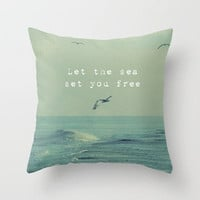 Let The Sea Set You Free Throw Pillow by Ally Coxon | Society6