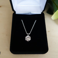 You Pick: SALE  8mm  2 carat Flawless D or Fancy color, Man Made Diamond, 14k Gold Option, Sterling Silver, Pendant, Birthstone, Necklace