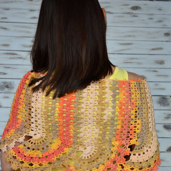 Crochet lace shawl, evening wrap, orange and yellow scarf, cotton triangle shawl, elegant womens scarf