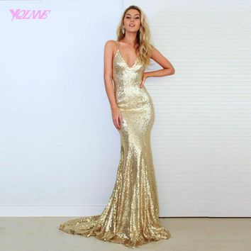 YQLNNE Sexy Backless Prom Dresses Gold Sequins Mermaid Evening Gown