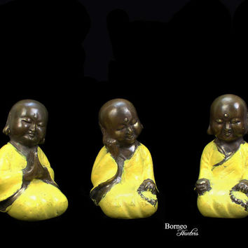 "Baby Buddha;Meditating,Praying & Teaching 4.1-4.25""Aged Brass Baby Buddha Statue,Set Of 3 Little Buddha Figurine In Yellow Cloak Buddism Art"