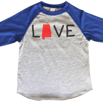 Love Alabama BOYS OR GIRLS BASEBALL 3/4 SLEEVE RAGLAN - VERY SOFT TRENDY SHIRT B282