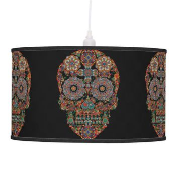 Flower Sugar Skull Pendant Lamp