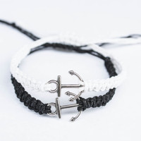 Anchor Couples Bracelets Black and White