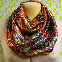 Silky satin multi-colored tribal print circle infinity loop cowl scarf