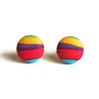 Green Yellow Purple Pink Light Blue Layers of Color Fabric Covered Button Earrings